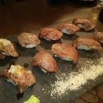 肉と魚 和バル 八 - 肉寿司の盛り合わせ