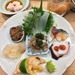 栄寿司 - 料理写真:炙り青柳/ひらめ昆布締め/とこぶし煮/かわはぎ肝ポン酢/〆鯖/蛸梅肉のせ/鯵わけぎのせ