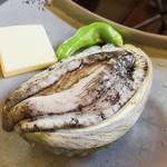 魚庵 千畳敷 - 鮑の踊り焼き 生簀からあげたばかりの新鮮な鮑!