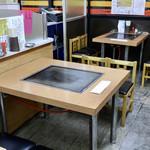 スタミナとん - 鉄板付きテーブルが主体の空間