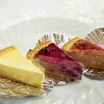 サンクサンク - 麻布チーズケーキ430円 ブルーベリーチーズケーキ430円 いちごチーズケーキ430円