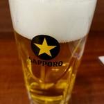 美唄焼とり たつみ - 晩酌セットのビール