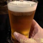 横浜スタイル カクテル&ワインBAR グラン・カーヴ - ゆるゆるポタリングの忘年会☆彡 会費7000円てことで楽しみ♪ カウンターだけのこじんまりしたお店。 今回は立食でドリンクはメニューから注文する。 最初は生ビールetcで乾杯〜( ^ ^ )/□