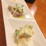98404505 - 【18.12】前菜はポテトサラダ、パテドカンパーニュ、にんじんのムース