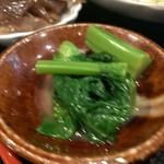 新橋 炉ばたや - 鶏の唐揚げ定食1,000円(菜の花のおひたし)