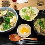 貝縁 - 海老天玉子とじ丼とミニはまぐりラーメン定食