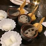 神戸野菜とフルーツ kitchen de kitchen~キッチン デ キッチン~ - インカのめざめのポテサラ、れんこんガーリック、山芋の梅和え