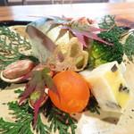 心根 - 八寸 牡蠣コンフィの林檎巻き 安納芋・黒豆きんつば 里芋・胡桃白和えなど