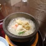 天政 - 鱈の白子、蟹、湯葉の石焼スープご飯