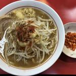 千里眼 - ラーメン 麺150g ヤサイ半分・ニンニク・ショウガ・アブラちょっとのカラアゲ別皿で 750円