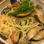 9843860 - お醤油味のスパゲティー ナスとひき肉