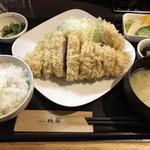 98433561 - 雪室熟成豚の特ロースかつ定食にヒレかつをトッピング!!