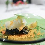 Irukorattsuere - 前菜 アオリイカとカラスミ イカスミを練りこんだ手打ち冷製タリオリーニ☆
