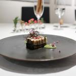 イル コラッツィエーレ - カマスと米茄子のテリーヌ ピスタチオとバジルのソース☆