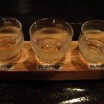 酒盃 - 大吟醸 雪の茅舎、純米吟醸 蔵囲、純米酒 醇辛