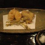 酒盃 - 季節の天ぷら  穴子、栗、だだみ、ミズ玉