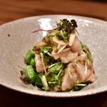 fours - 寒ブリ菜の花の白味噌 ゆずソース和え@880円