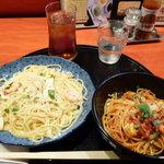 五右衛門 - ハーフ&ハーフA トマトとモッツァレラチーズのバジル風味&カニと海老と帆立のクリームソース