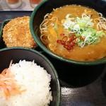 ゆで太郎 - 「メンチカツカレーそばセット(¥550)」