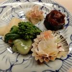98502243 - ・マダコの柔らか煮,煮帆立,そら豆,かずのこ,菜の花