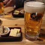 元祖北海魚串 がりや - お通し(???円)と大生ビール(580円)