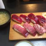 鮨処魚音 - あら汁付きの三崎にぎり( ̄∀ ̄)まぐろ切符で食べれちゃいます。
