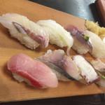 鮨処魚音 - 地魚にぎり(まぐろ切符)