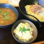 つけめん与へえ - ニンニク塩つけ麺+ミニタルタル丼
