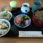 伯蕎庵 しばた - 料理写真:割り子蕎麦セット(炊き込みご飯、蕎麦豆腐)