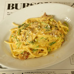 トラットリア デル パチョッコーネ - 新潟野菜のカルボナーラ ブカティーニ