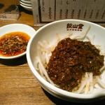 98557685 - 坦々肉味噌もやし  300円(税込)  茹でたもやしに何かの中華っぽい風味の肉味噌。山椒は感じなかったかな。
