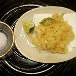 割烹味楽 - 付きだしの天ぷら