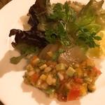 鉄板創作料理 木木の釜座 - マグロのハムとサラダ