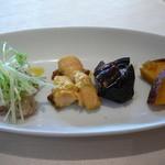 イタリア料理 アルファロ - 前菜 魚のマリネ チキンのカレー風味 茄子 さつまいも