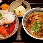 長生庵 - バチ鮪のミニ中トロ赤身丼、そばセット 1,500円