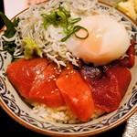 長生庵 - バチ鮪の身に中トロ赤身丼