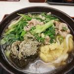 讃岐製麺 - 九条ねぎの牛肉昆布うどん(大)730円(税込)