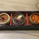 魚沼の恵をあなたへ 八海山バル - 珍味3種盛り合わせ780円