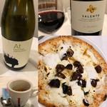 トラットリア ピッツェリア polipo - デザートピザのカスターニャ、ワイン(赤白)、食後のエスプレッソ