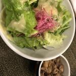 鉄板焼 なにわ - サラダの肉皿