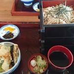 香雅 - ミニ天丼とざるそば大盛セット(税込1,110円)