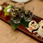 恵比寿 箸庵 - 蕎麦屋のつまみ盛り合わせ3品