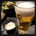 全力鶏 - お通し&生ビール