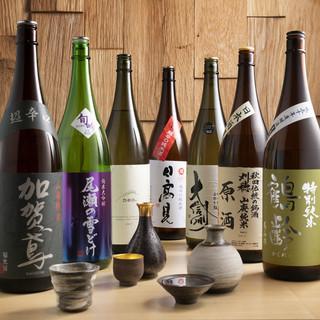 豊富な品揃え、日本酒は常時15種