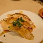 廻転寿司 まぐろ問屋 めぐみ水産 - サーモン炙り3種