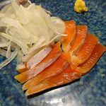 魚哲 - 刺身2種盛り(サンマ、鮭の酢〆)