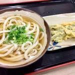 根っこ - かけうどん(小)とインゲン豆の天ぷら