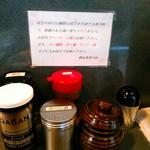 熱血食堂すわ - 卓上には醤油、お酢、辣油、花椒粉(四川山椒と書いてある)。