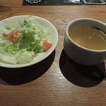 ビストロ ウナストラーダ - セットのサラダとスープ