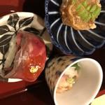 肉割烹 幹の弐 - 前菜(鴨ロースト冷製治部煮、ローストビーフ寿司、海老真丈